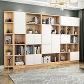書櫃 簡易書架置物架落地客廳櫃子組合書櫥簡約現代辦公室書櫃帶門 夢藝家