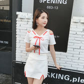 限時38折 韓國風休閒兩穿露肩性感蝴蝶結套裝短袖裙裝
