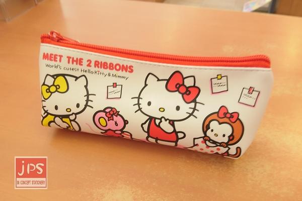 Hello Kitty 凱蒂貓 皮質三角筆袋 收納袋 白 969499
