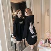 衛衣裙 中長款連帽T恤裙女秋裝2020新款韓版潮寬鬆外套原宿bf薄款連帽衫上衣 快速出貨