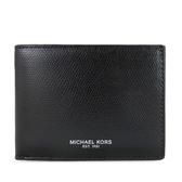 MICHAEL KORS WARREN 男用燙銀LOGO簡易式對開短夾(黑色)-36T7LWRF5L