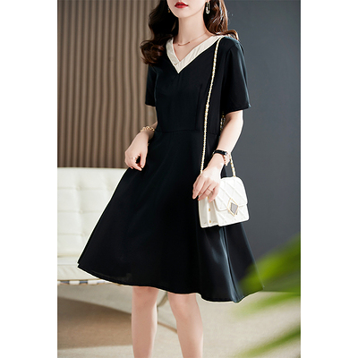 S-2XL洋裝連身裙~の高奢感小黑裙 溫柔撞色V領 19姆米鬼縐桑蠶絲連身裙GD303莎菲娜