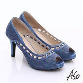 A.S.O 甜蜜樂章 蕾絲縷空魚口跟鞋  藍