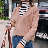 2018 新品 女裝 假兩件 毛衣 女 長袖 條紋 針織衫