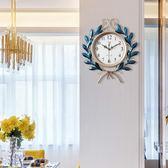 歐式鐘錶時鐘掛鐘靜音客廳臥室家用北歐創意現代簡約大氣石英鐘WYDF【聖誕節交換禮物】