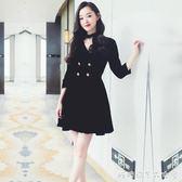 赫本小黑裙春秋新款女裝修身顯瘦a字V領復古絲絨禮服洋裝潮 糖糖日系森女屋