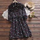 東京奈奈日系森林系印圖加厚長袖收腰連身裙[j01571]