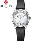 JULIUS 聚利時 星之守護貝殼面皮帶腕錶-黑色/29mm 【JA-973A】