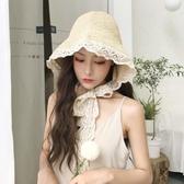 小清新草帽女夏蕾絲繫帶沙灘帽