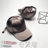 帽子女夏天時尚M標遮陽帽韓版百搭絲綢緞面棒球帽潮人黑色鴨舌帽【奇貨居】