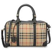 BURBERRY 格紋皮革中型兩用旅行包(黑色)083196