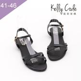 大尺碼女鞋-凱莉密碼-復古簡約款水鑽吊飾真皮寬版平底涼鞋2cm(41-46)【YGX10】黑色