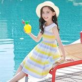 女童洋裝 連身裙8夏裝9洋氣10歲中童11小學生12大童兒童娃娃領公主裙子 百分百