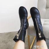 春季新款前拉錬英倫風馬丁靴歐美粗跟女騎士靴復古中筒短靴女 9號潮人館