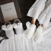 售完即止-棉拖鞋女冬季可愛兔子居家用厚底保暖半包跟防滑毛毛拖鞋月子11-8(庫存清出T)