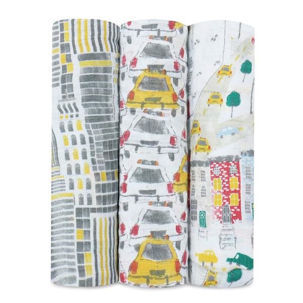 美國 Aden + Anais 純棉包巾3入|禮盒|彌月 城市印象