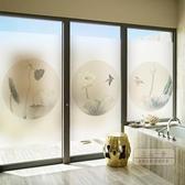 玻璃窗貼 古典窗戶玻璃貼紙中式荷花窗貼透光不透明磨砂貼紙防走光靜電貼膜-快速出貨