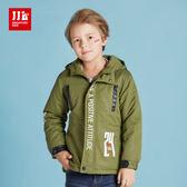 JJLKIDS 男童 帥氣騎士鋪棉厚外套(軍綠)