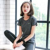 秋季健身房新款跑步速干T恤運動上衣女短袖顯瘦瑜伽服性感緊身衣 99一件免運