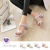 簡約率性純色一字扣粗跟涼鞋/4色/35-40碼 (CX0028-219) iRurus路絲時尚