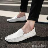 豆豆鞋男士休閒鞋潮流一腳蹬懶人鞋子套腳皮男鞋皮鞋  蘿莉小腳ㄚ