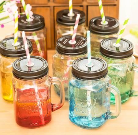 預購-創意漸層彩色玻璃帶蓋吸管水杯