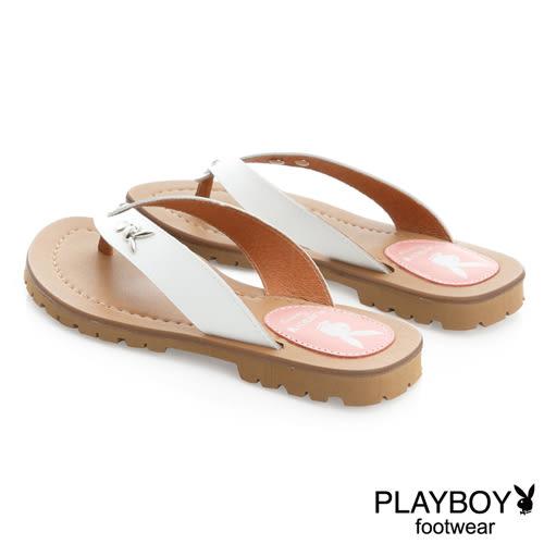 PLAYBOY 花漾假期 沁甜單鑽兔頭夾腳涼拖鞋-白