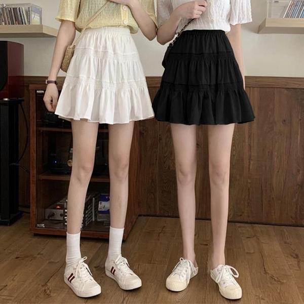 高腰a字裙垂感裙子短裙2021早春新款半身裙顯瘦白色蛋糕裙百褶裙14 幸福第一站