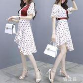 夏季法式初戀溫柔復古魚尾洋裝很仙的法國小眾雪紡魚尾波點連衣裙女 qf23479【優童屋】