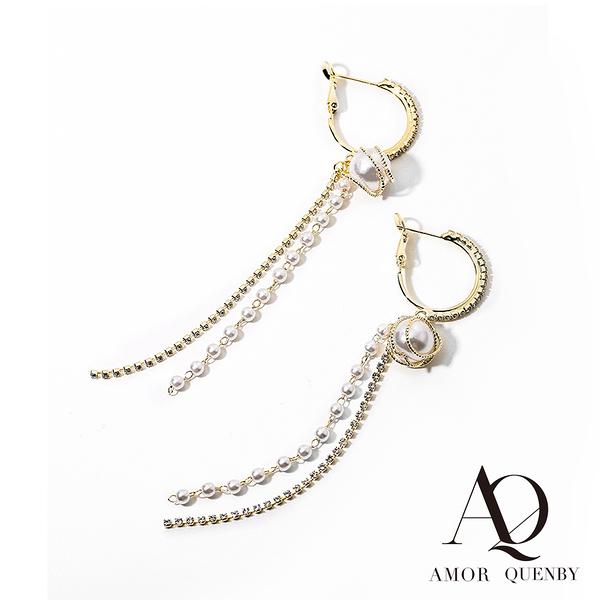 AQ 氣質名媛風香檳金仿珍珠長耳環/耳針(AMOR Quenby)