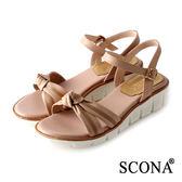 SCONA 蘇格南 全真皮 手工扭結舒適厚底涼鞋 杏色 22726-2