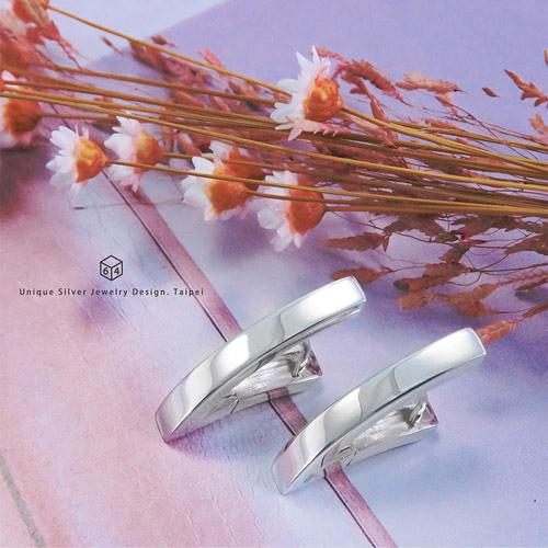易扣/圈式耳環 方線V型(大) 易扣式 純銀耳環-64DESIGN