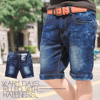 柒零年代【N8684J】韓版簡約塊狀立體暈染刷色牛仔短褲(LE-W509)Freely