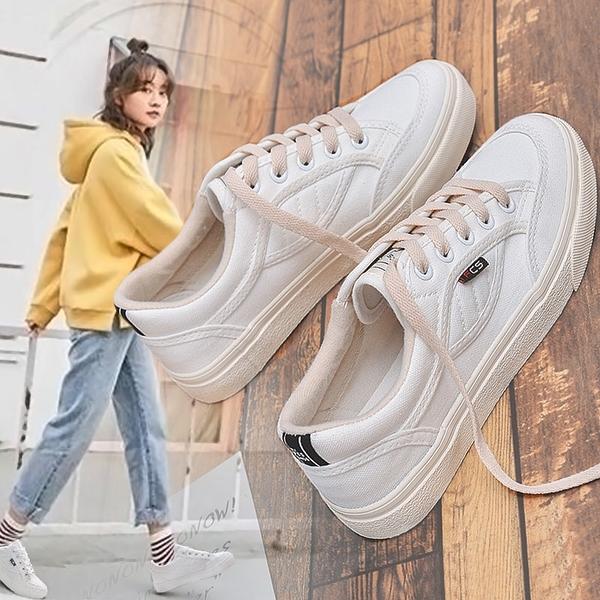 帆布鞋 ins超火帆布鞋女正韓小白鞋zipper復古港風chic鞋子百搭1992板鞋【星時代女王】