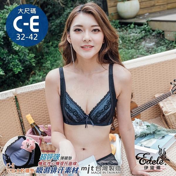 迷幻凱莉HIDE美胸蕾絲挺V月牙機能透氣內衣 C-E罩 32-42 (黑色) - 伊黛爾