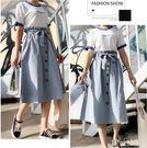 【GZ23】排釦造型純色縮腰綁帶長裙 6...