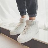 新款秋季男鞋韓版潮流百搭小白潮鞋運動高筒板鞋白鞋冬季棉鞋 韓國時尚週