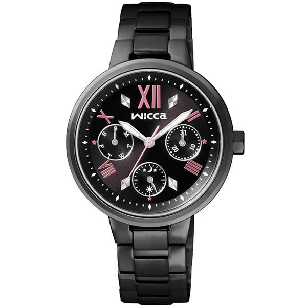 【台南 時代鐘錶 CITIZEN】星辰 Wicca 羅馬時標活力少女系列腕錶 BH7-547-51 黑鋼 33mm