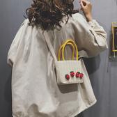 手提包 草編小包包女包新款2019流行夏天小清新單肩手提小方包編織斜挎包 尾牙交換禮物