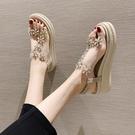 涼鞋女時尚夏季厚底花朵松糕水鉆厚底楔形時裝仙女風鞋-Milano米蘭