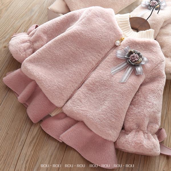 韓版女童外套。ROUROU童裝。冬季女童中小童水貂毛夾棉泡泡袖加厚外套 0243-235