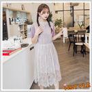 連身裙 兩件式蕾絲拼接短袖洋裝LU851...