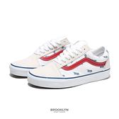 VANS 休閒鞋 OLD SKOOL 米白 紅藍滿版字 滑板鞋 男女 (布魯克林) VN0A3WKT9M9