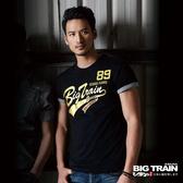 Big Train 貼布繡金漿文字圓領T-男-黑-B8061488