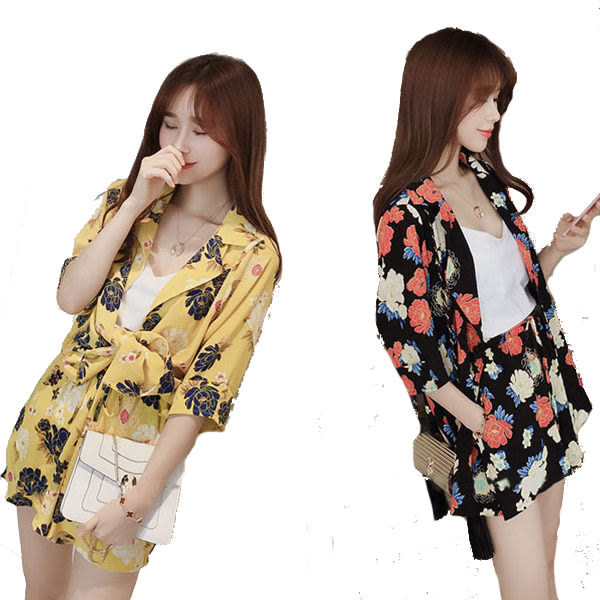 繽紛花朵印花五分袖外套+鬆緊腰雙口袋短褲    [黑 黃] 兩色售 MCO160015