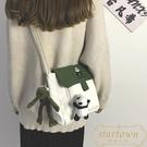 帆布包女韓版百搭側背包寬帶單肩可愛熊貓包【繁星小鎮】