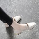 軟皮樂福鞋女一腳蹬2021春款百搭方頭粗跟單鞋淺口平底英倫小皮鞋寶貝計畫 上新