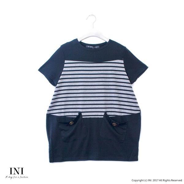 【南紡購物中心】【INI】自信風采、休閒條紋拼接造型口袋上衣.黑色