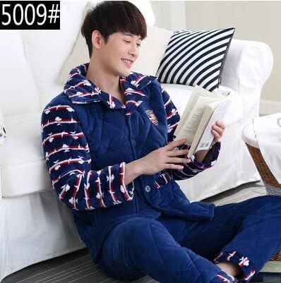 熊孩子ஐ冬季中年男士珊瑚絨夾棉加厚睡衣中老年加絨超厚法蘭絨家居服套裝 (5009#)