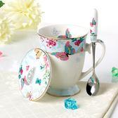 骨瓷杯英式骨瓷茶杯歐式水杯帶蓋帶勺創意復古馬克杯咖啡杯陶瓷杯禮品杯 全館免運折上折